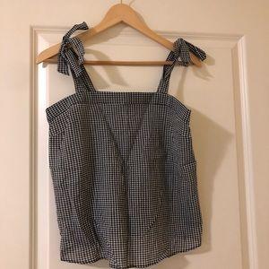 Jcrew factory gingham shoulder tie top